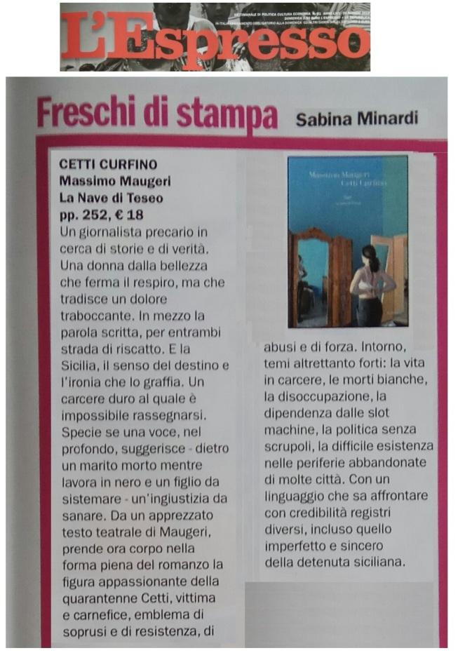 Cetti Curfino - L'Espresso - Sabina Minardi - 20.5.2018