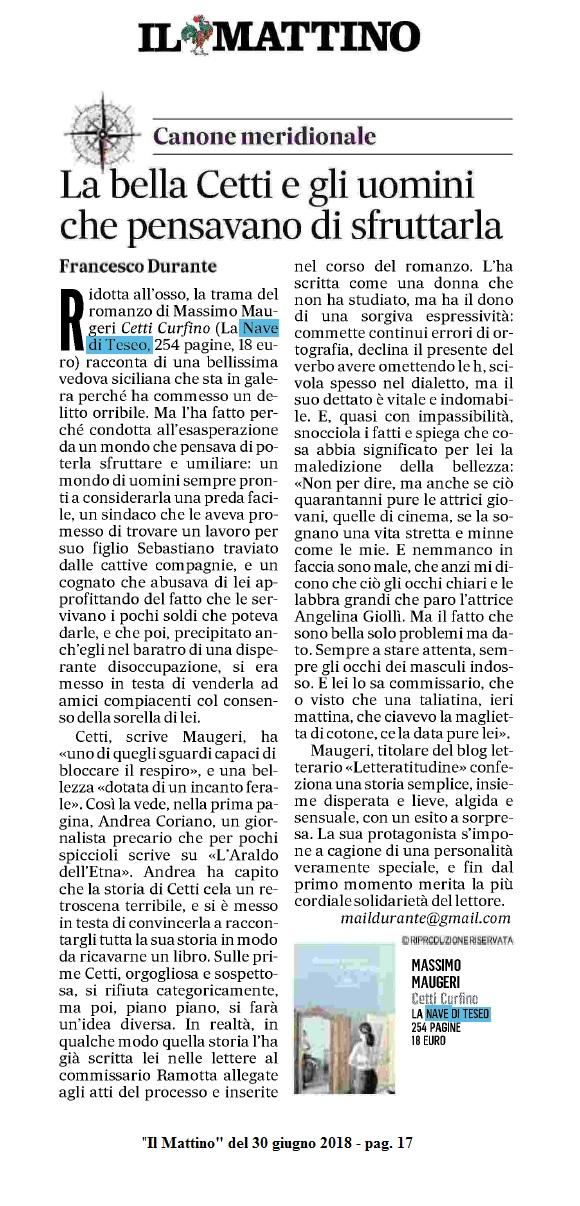 Il Mattino del 30.6.2018 (Cetti Curfino)