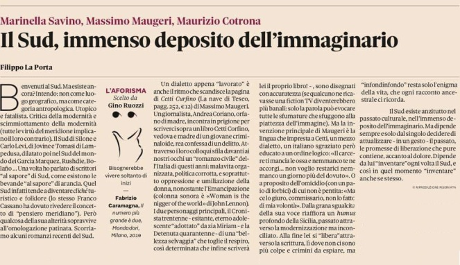 Domenica Sole 24Ore (Filippo La Porta) 17.3.2019